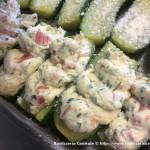 Zucchine farcite con ricotta, pomodoro e basilico